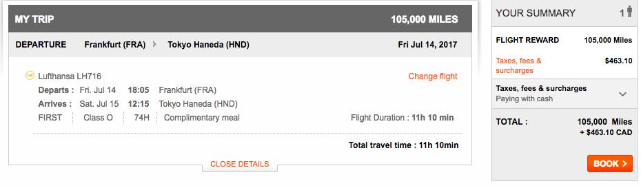 Aeroplan Frankfurt to Tokyo | Prince of Travel | Miles & Points
