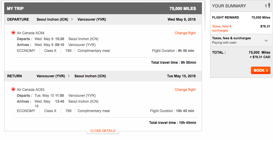 Aeroplan Seoul to Vancouver | Prince of Travel | Miles & Points