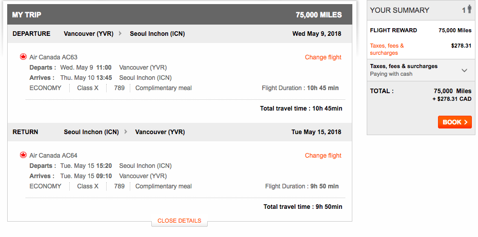 Aeroplan Vancouver to Seoul | Prince of Travel | Miles & Points