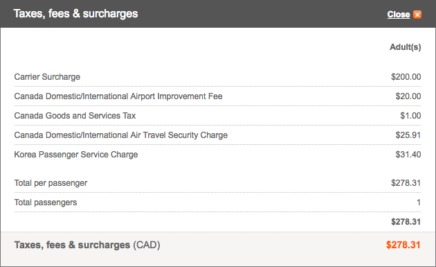 Aeroplan Vancouver to Seoul Fees | Prince of Travel | Miles & Points