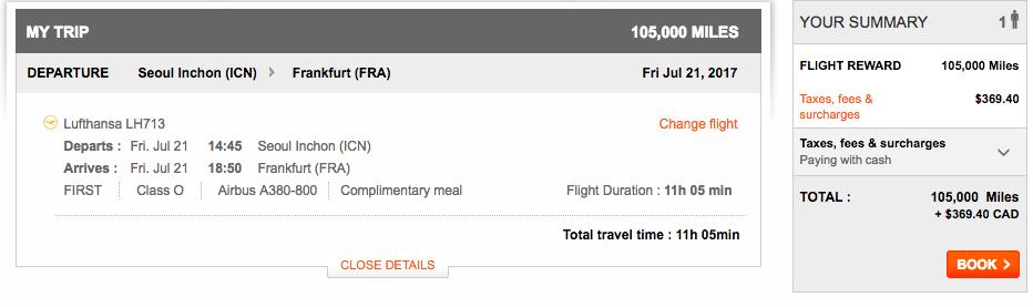 Aeroplan Seoul to Frankfurt | Prince of Travel | Miles & Points