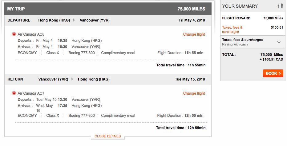 Aeroplan Hong Kong to Vancouver | Prince of Travel | Miles & Points