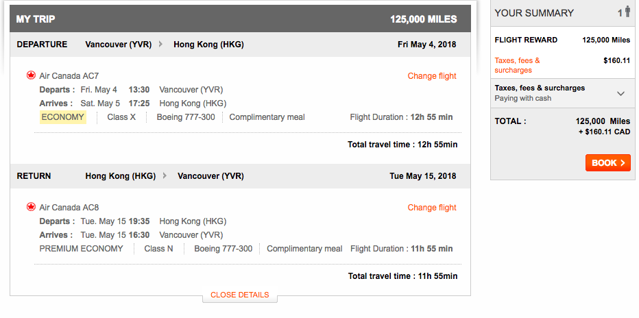 Aeroplan Vancouver to Hong Kong | Prince of Travel | Miles & Points