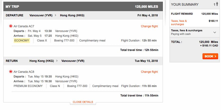 Aeroplan Vancouver to Hong Kong | Prince of Travel | Miles & Points