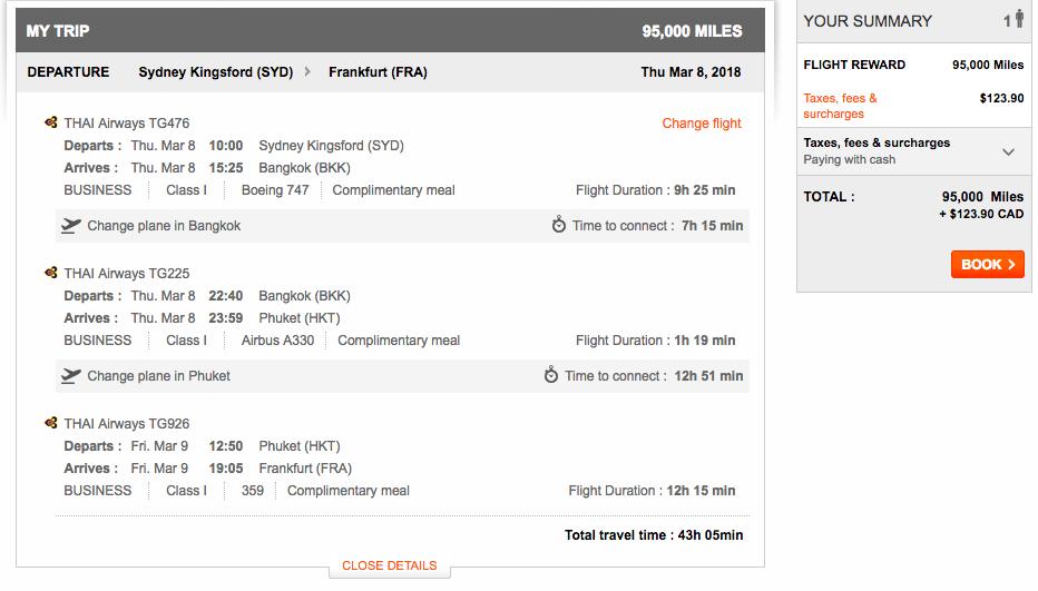 Aeroplan Sydney to Bangkok to Phuket to Frankfurt | Prince of Travel | Miles & Points