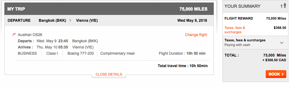 Aeroplan Bangkok to Vienna| Prince of Travel | Miles & Points