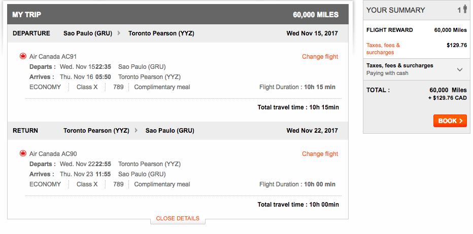 Aeroplan São Paulo to Toronto| Prince of Travel | Miles & Points