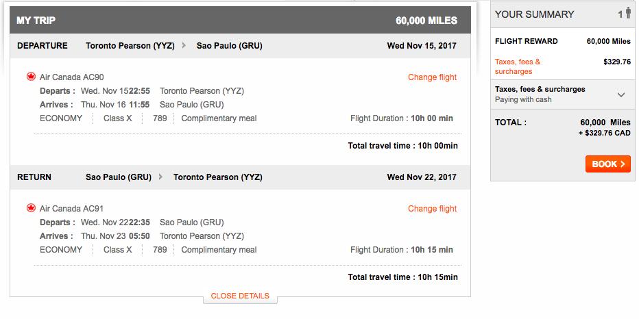 Aeroplan Toronto to São Paulo | Prince of Travel | Miles & Points