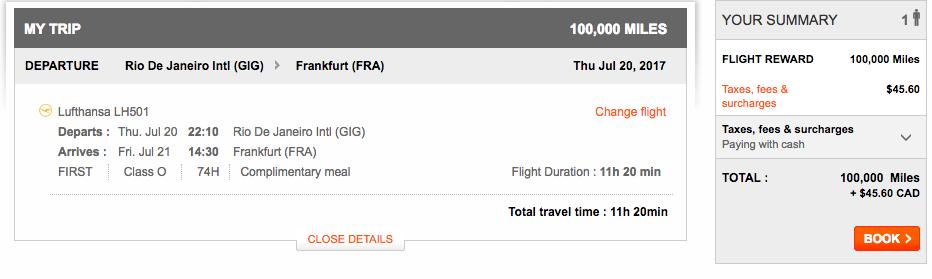 Aeroplan Rio de Janeiro to Frankfurt | Prince of Travel | Miles & Points