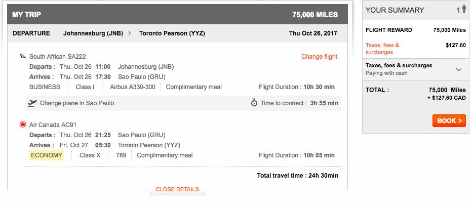 Aeroplan Johannesburg to Toronto | Prince of Travel | Miles & Points
