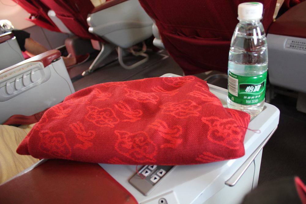 Shenzhen Airlines business class – Blanket and bottled water