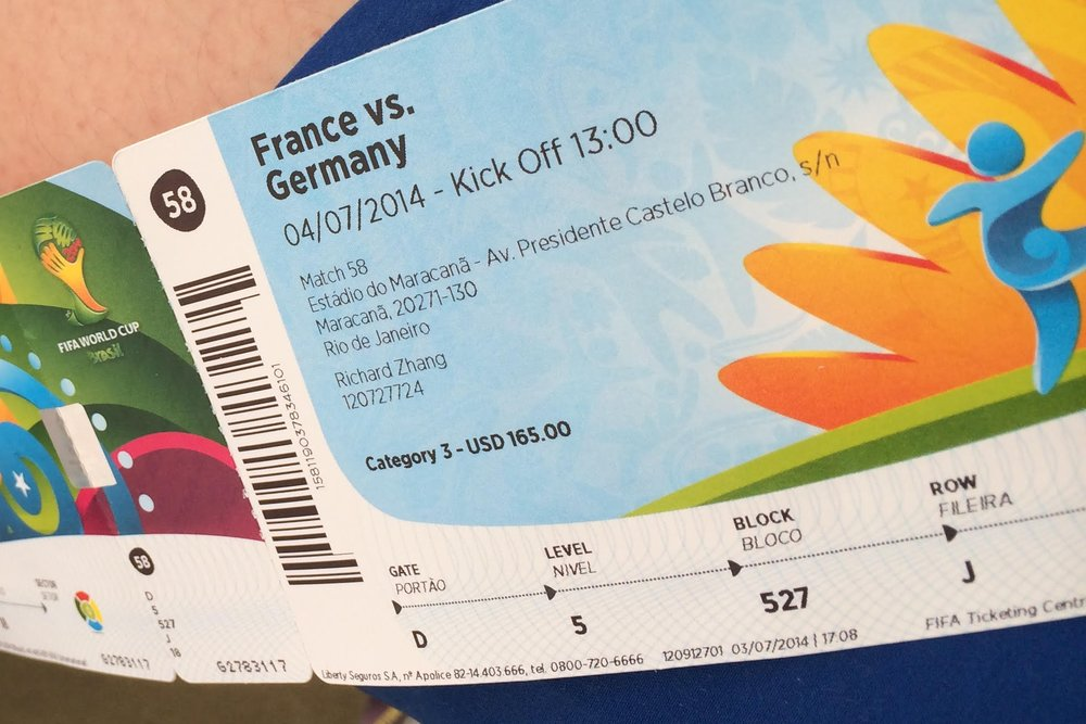 Our tickets from the 2014 FIFA World Cup in Brazil!