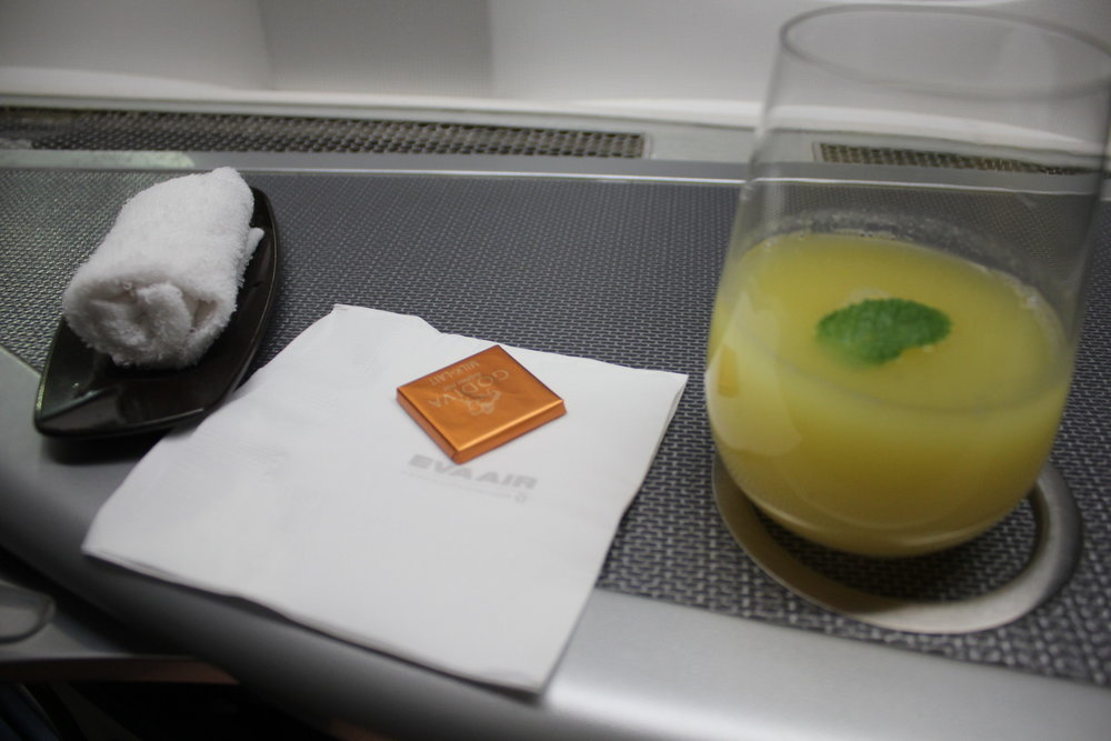 EVA Air business class – Welcome drink