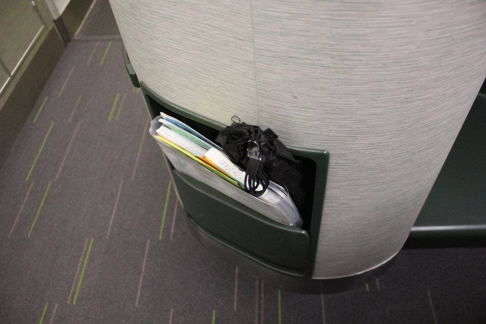 EVA Air business class – Seat back pocket