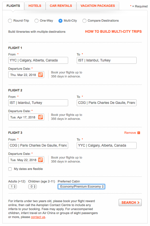 Aeroplan Multi-City Search | Prince of Travel | Miles & Points