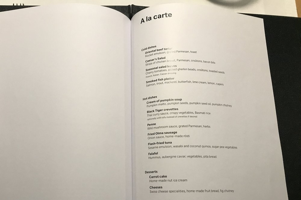 Swiss First Class Lounge Zurich – À la carte menu
