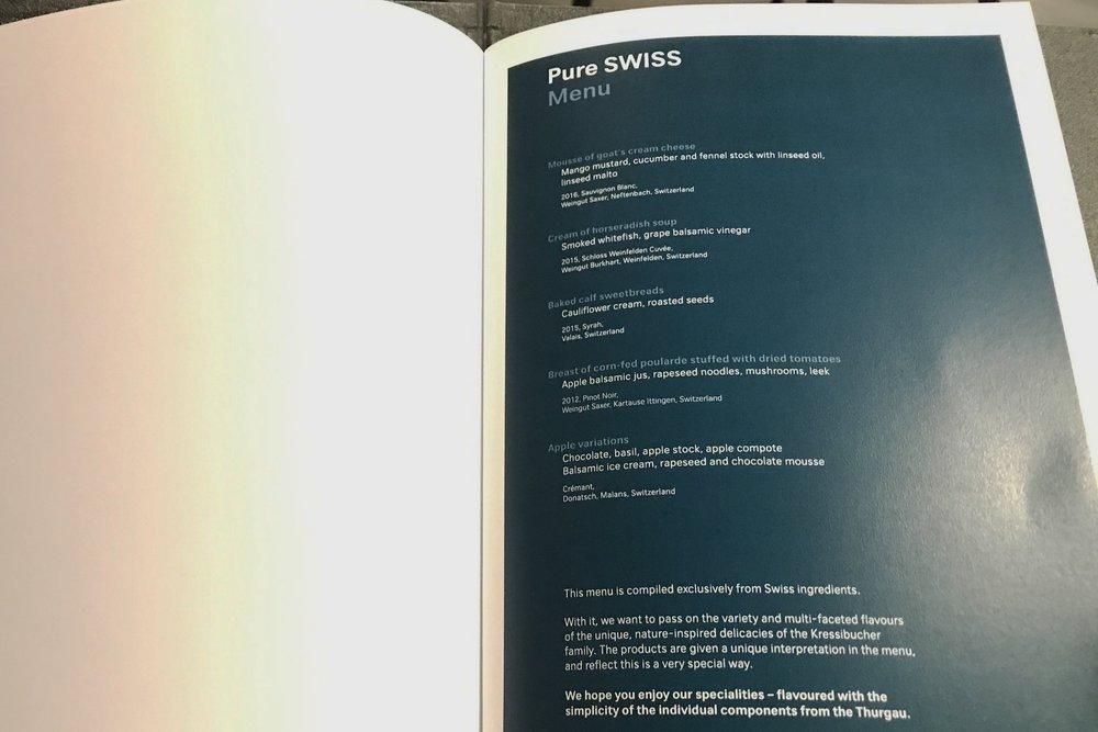 Swiss First Class Lounge Zurich – Pure Swiss menu