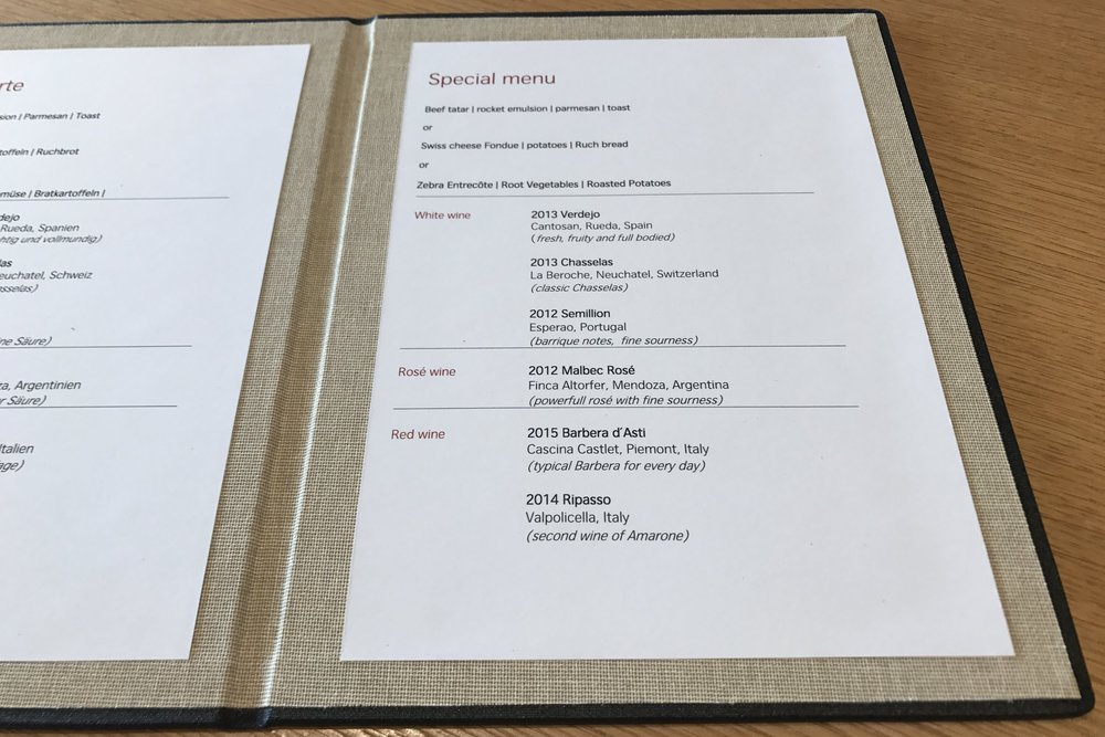 Swiss First Class Lounge Zurich – Special menu