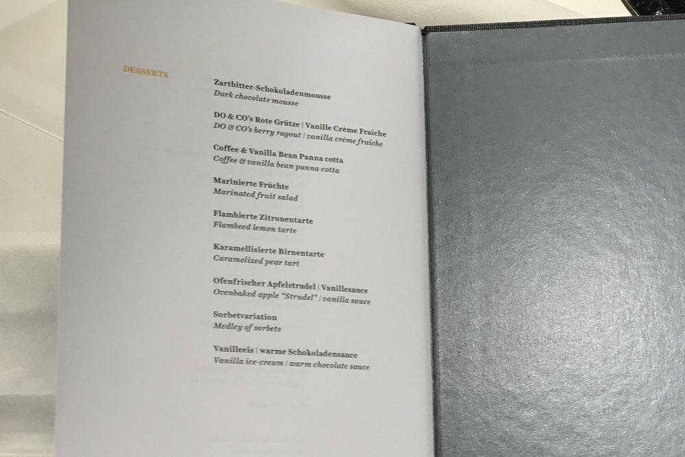 Lufthansa First Class Terminal Frankfurt – Dessert menu