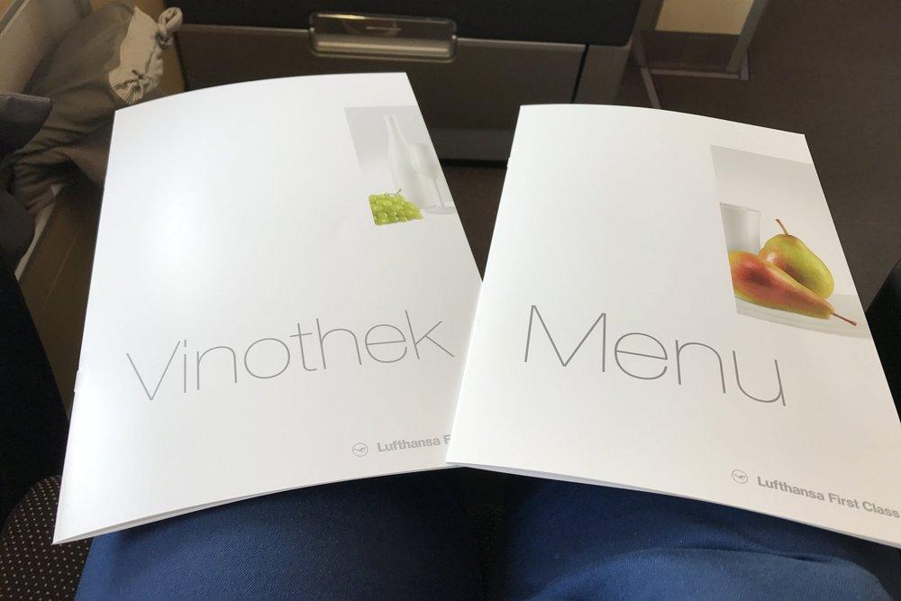Lufthansa First Class – Menus