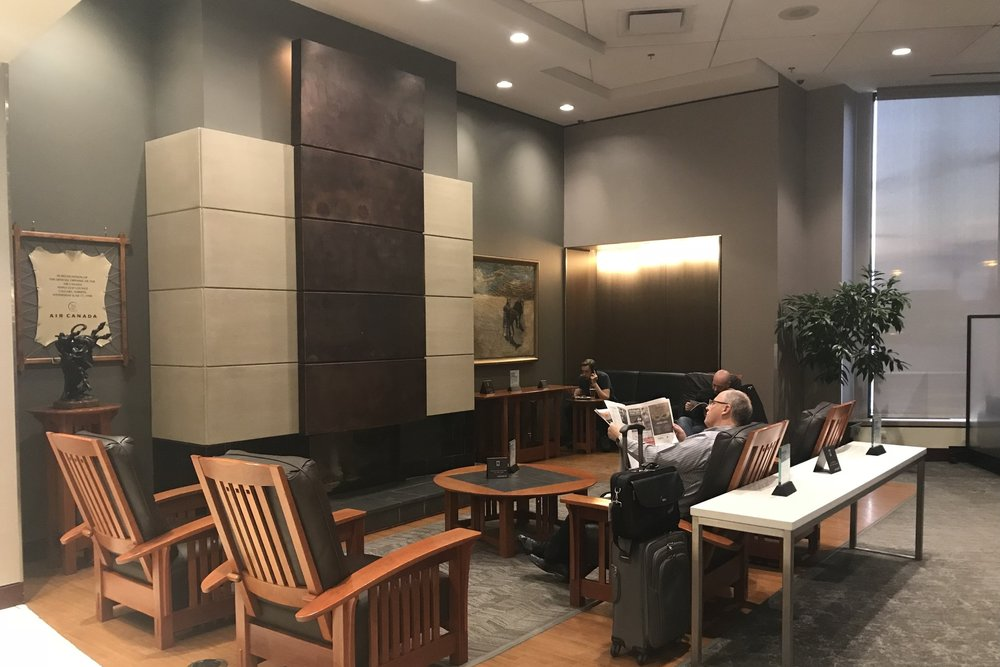 Air Canada Maple Leaf Lounge Calgary (Domestic) – Fireplace seating