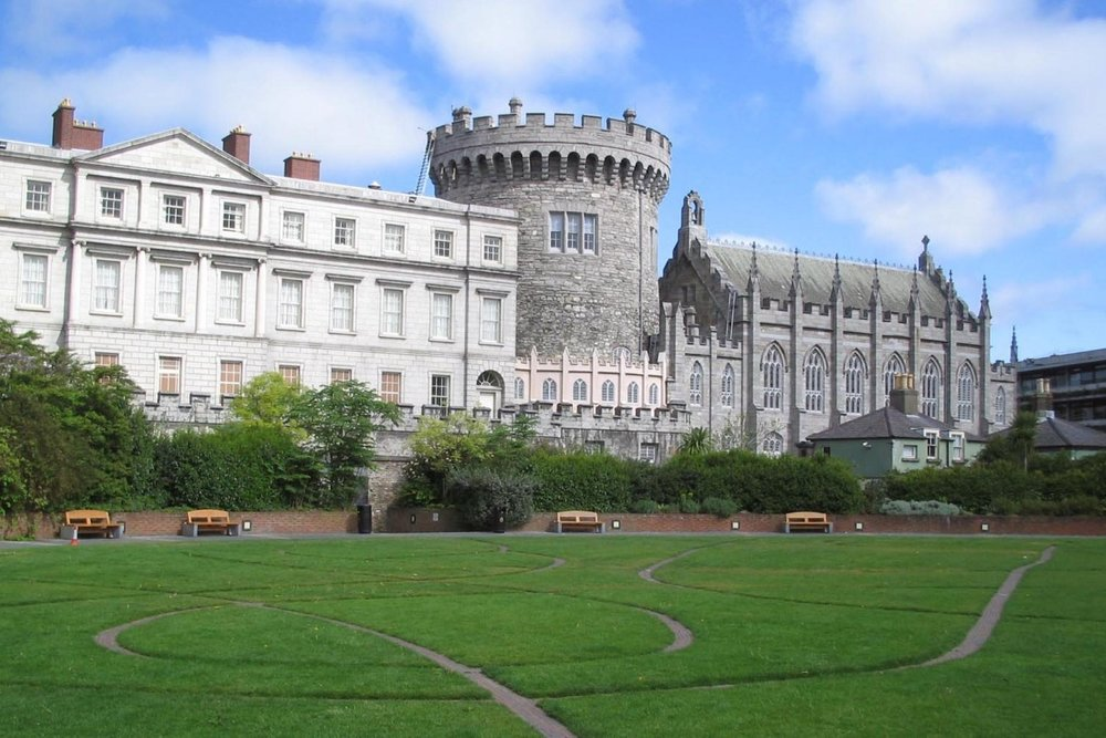 Dublin Castle, with Dubh Linn Garden in the foreground
