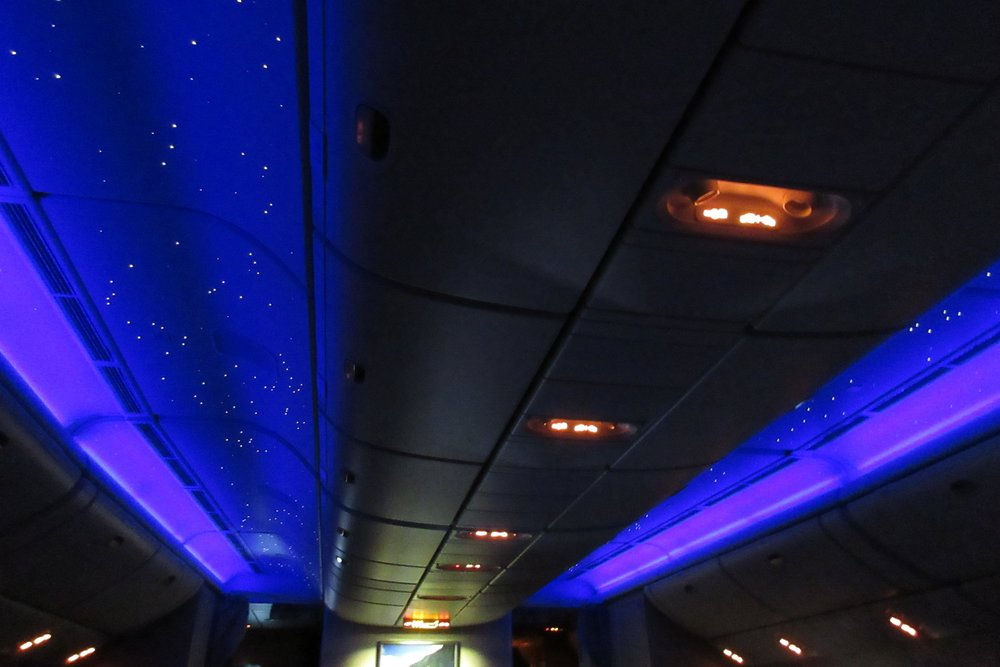 "EVA Air business class Toronto to Taipei – ""Starry night"" cabin lighting"