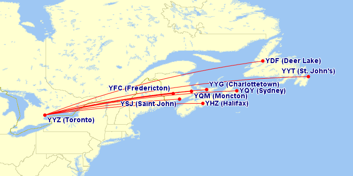Air Canada flights from Toronto to Atlantic Canada