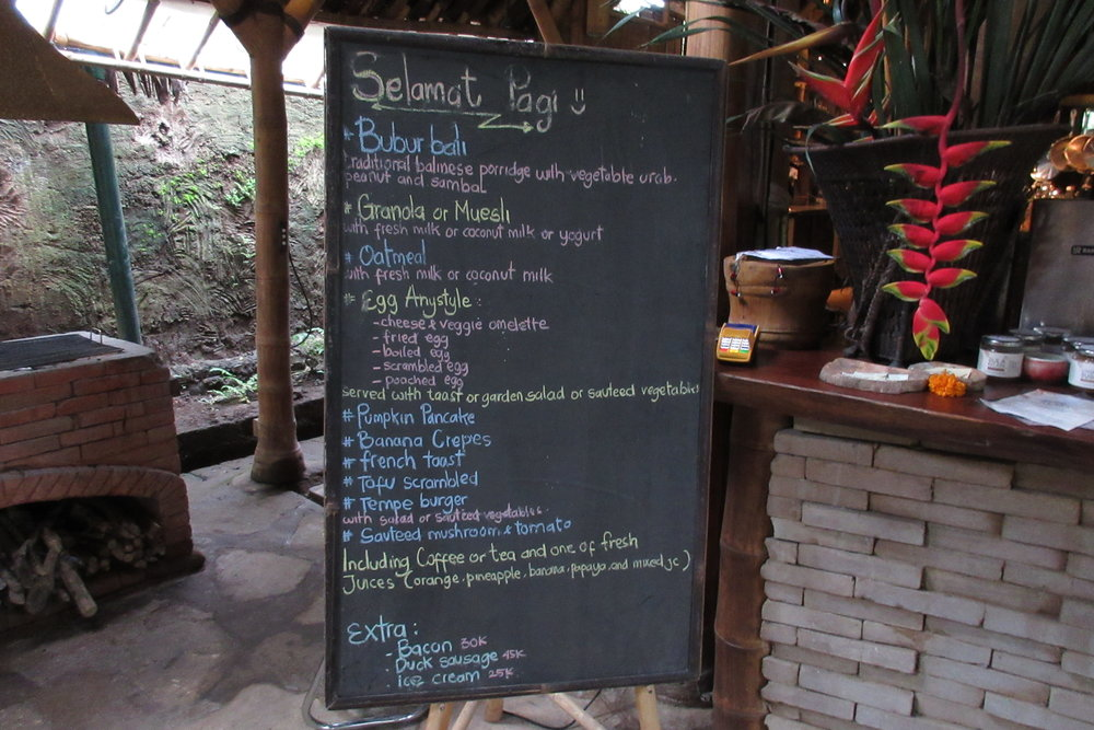 Bambu Indah Ubud – Breakfast menu