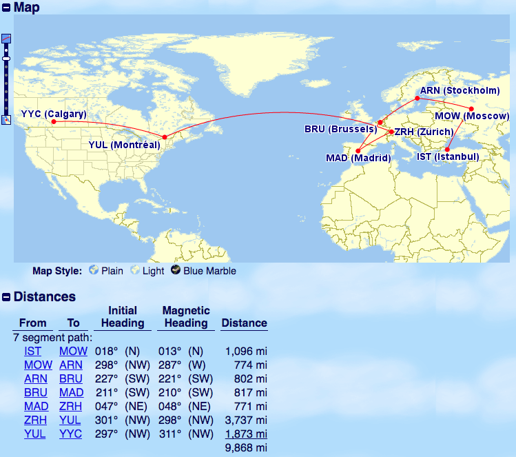 Istanbul to Calgary routing