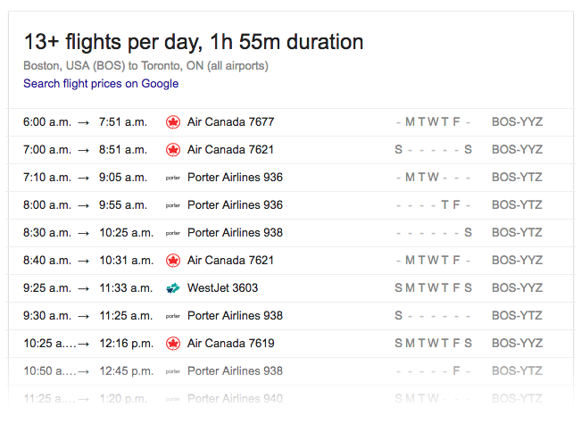 Flights-Boston-Toronto