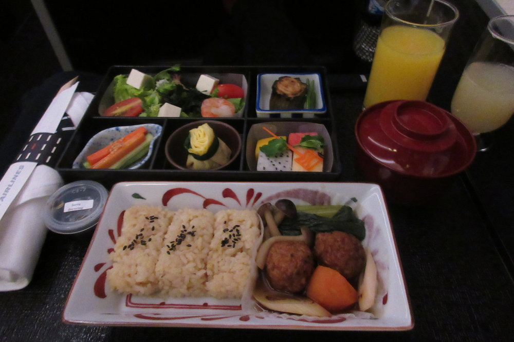 Japan Airlines business class – Japanese breakfast