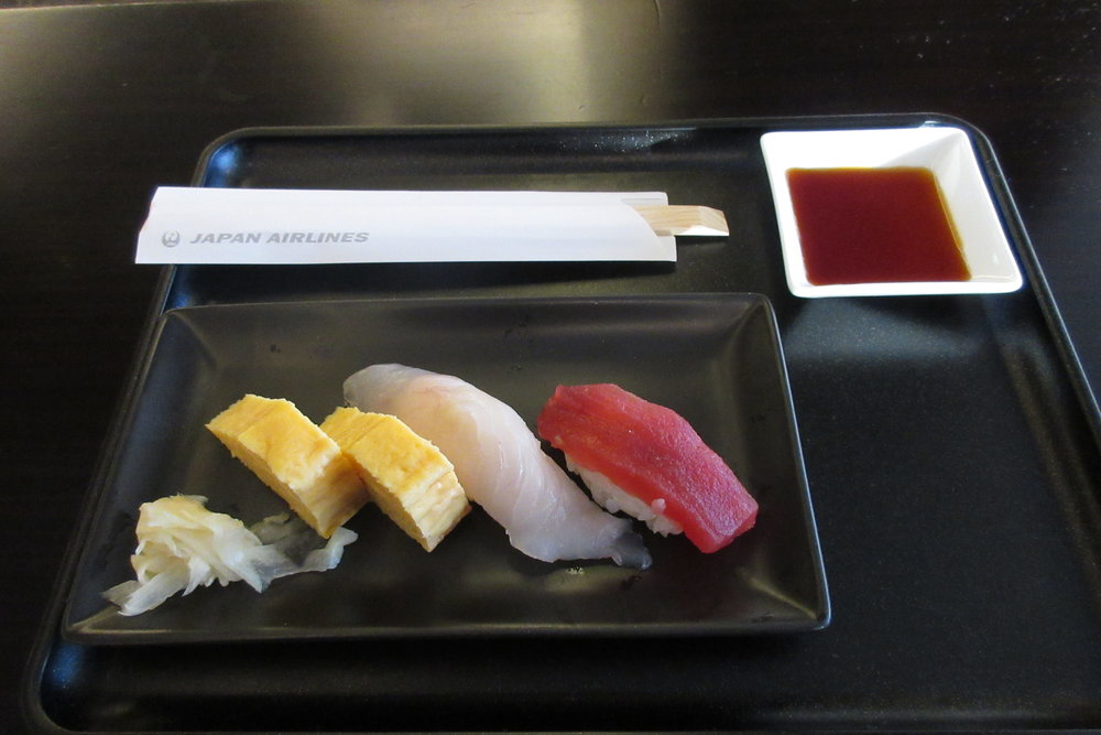 Japan Airlines First Class Lounge Tokyo Narita – Egg, flounder, maguro