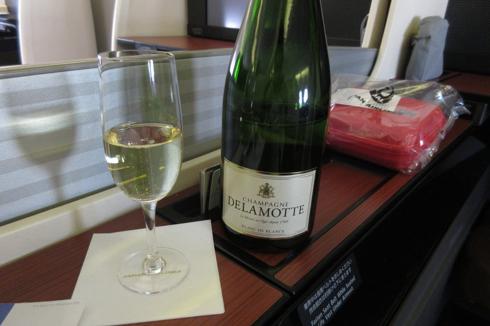 Japan Airlines First Class – Welcome champagne
