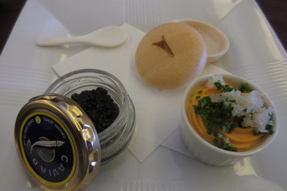 Japan Airlines First Class – Caviar