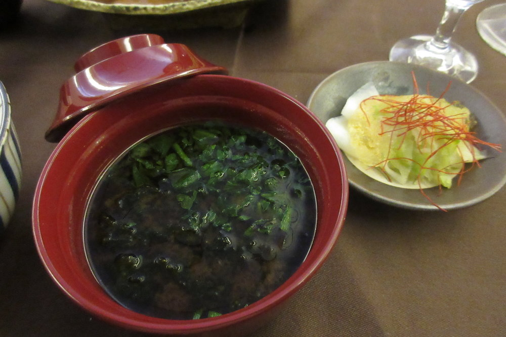 Japan Airlines First Class – Miso soup