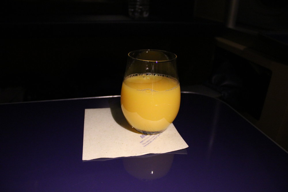 ANA First Class – Orange juice