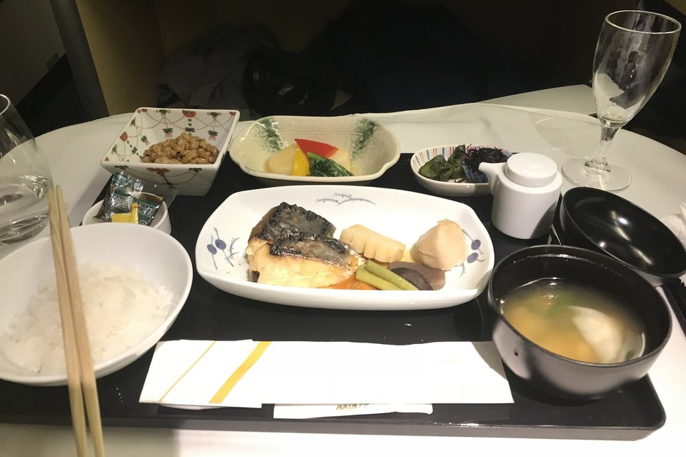 ANA First Class – Pre-arrival Japanese meal