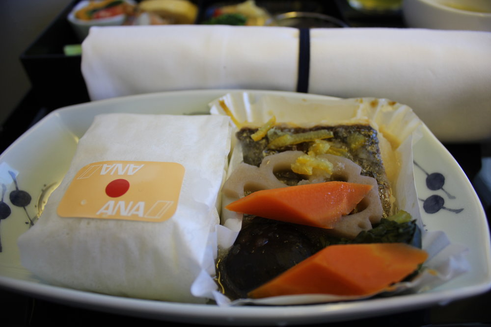 ANA 777 business class – Simmered mackerel with steamed rice