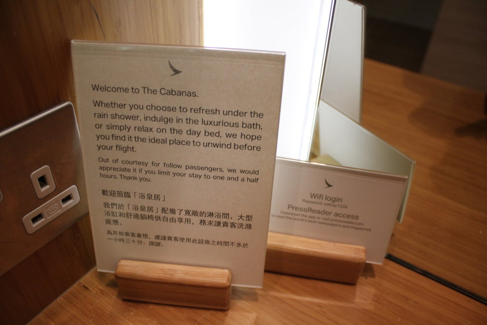 The Wing First Class Lounge by Cathay Pacific – Cabana courtesy sign