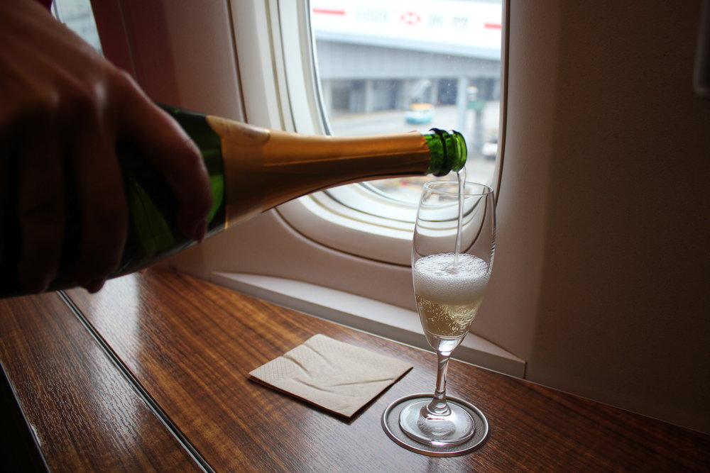 Cathay Pacific First Class – Pre-departure champagne