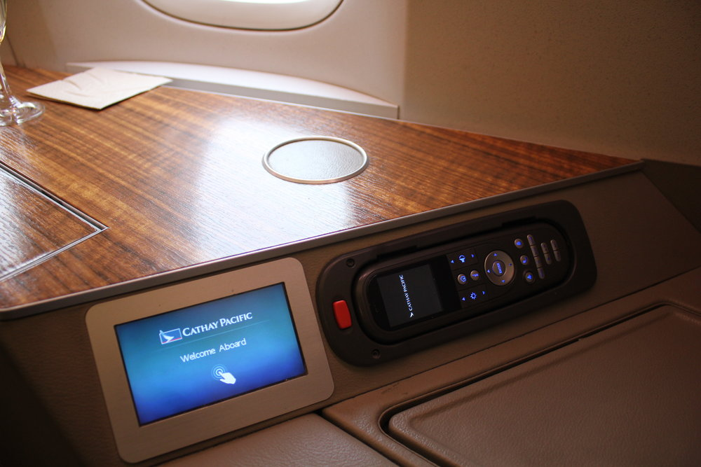 Cathay Pacific First Class – Seat and entertainment controls