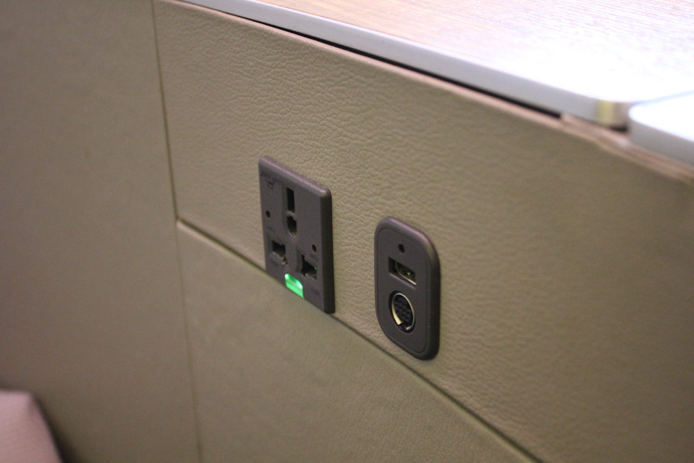 Cathay Pacific First Class – Power ports