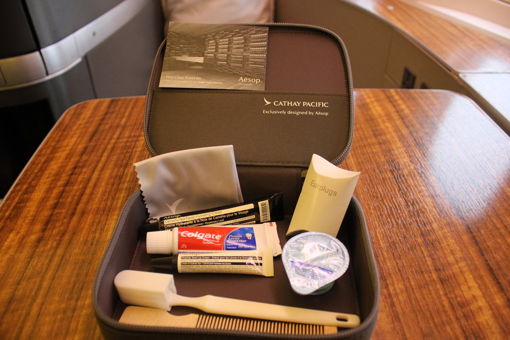 Cathay Pacific First Class – Aesop amenity kit contents
