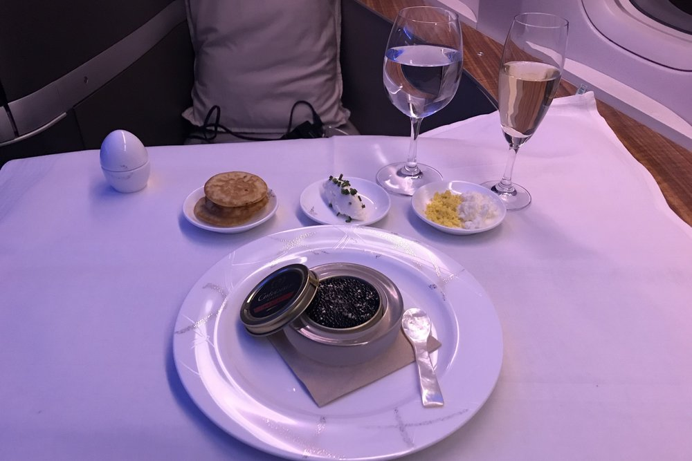 Cathay Pacific First Class – Caviar