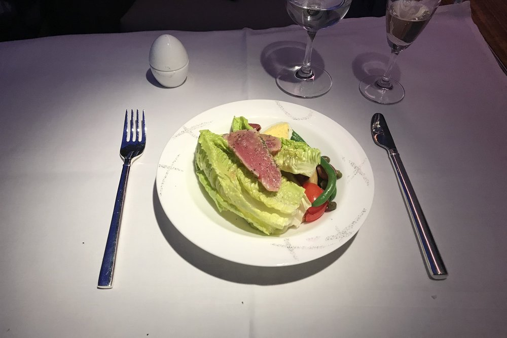 Cathay Pacific First Class – Tuna Niçoise salad