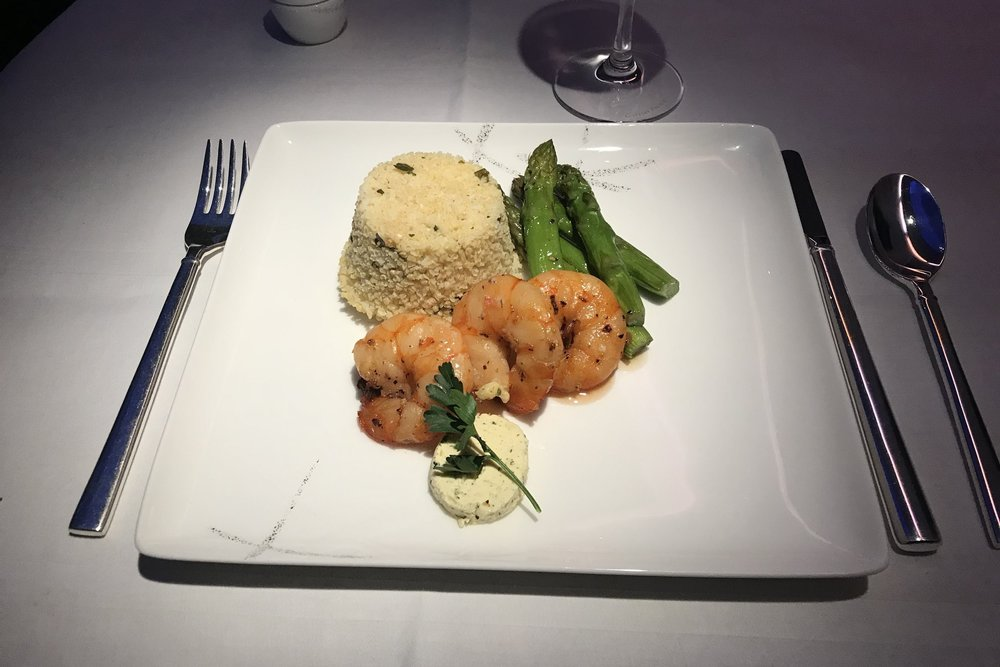 Cathay Pacific First Class – Pan-fried king prawn