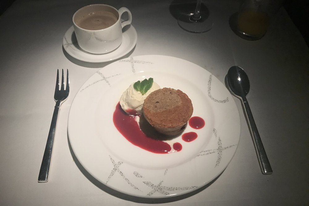 Cathay Pacific First Class – Black forest pudding with vanilla ice cream