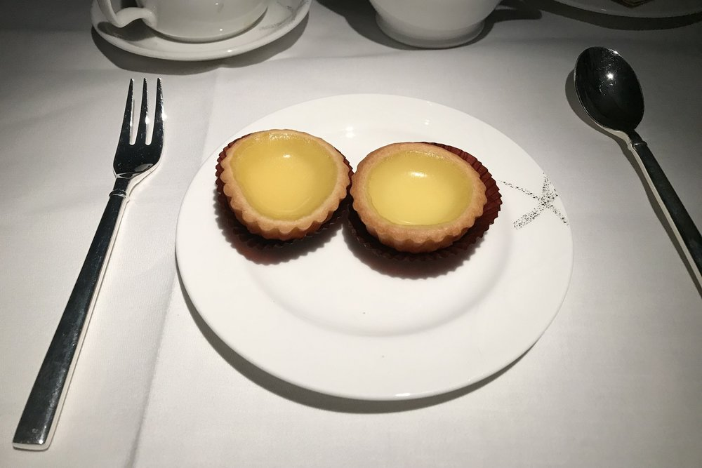 Cathay Pacific First Class – Hong Kong-style egg tarts