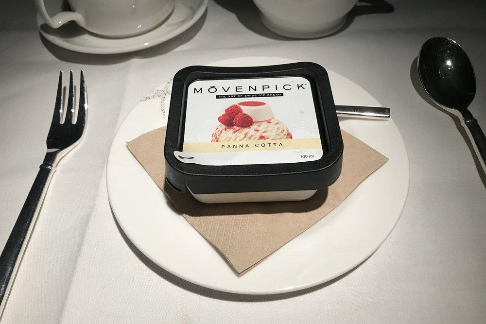 Cathay Pacific First Class – Mövenpick ice cream